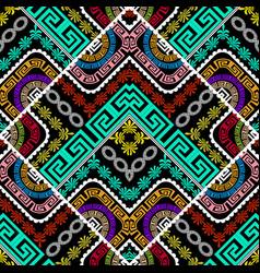colorful geometric greek seamless pattern modern vector image