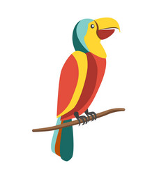 Colorful parrot on branch vector