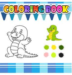 Coloring book happy crocodile cartoon vector