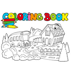 Coloring book with school and bus vector