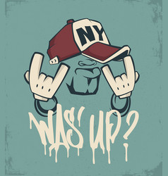 cool man in cap hip hop face print design vector image