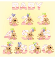 cute baby birthday digits vector image vector image
