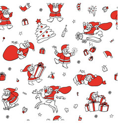 cute set sketch seamless pattern of funny vector image
