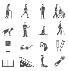 Disabled Handicapped People Black Icons Set vector