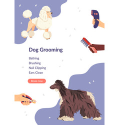 Dog grooming card template vector