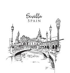drawing sketch la plaza de espana vector image