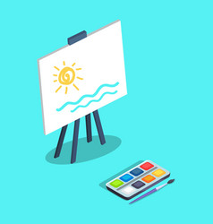 Easel with white canvas and paints brush vector