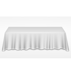Empty dinner banquet table with white cloth 3d vector