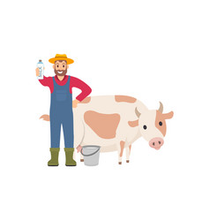 Farmer holding milk package vector