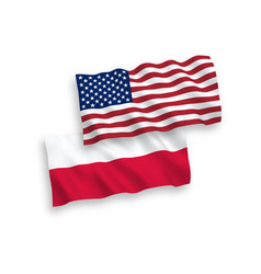 Flags poland and america on a white background vector
