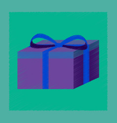 Flat shading style icon gift box vector