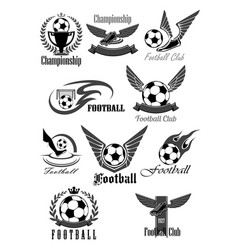 Football club icons for soccer championship vector