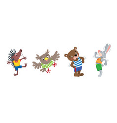 funny animals hedgehog owl bear and rabbit vector image