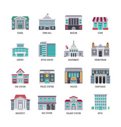 Government buildings flat icons set vector
