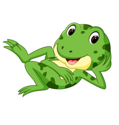 Green frog with happy smile vector