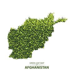 Green leaf map of afghanistan vector