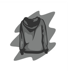 grey hoodie back view vector image