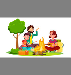 happy family with children sitting around the vector image