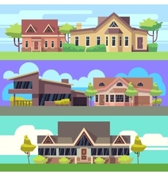 Horizontal banners set with residential vector