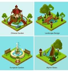 Isometric 2x2 Landscape Design Concept vector