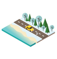 Isometric snow winter day car travaler on the vector