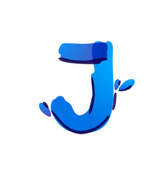 J letter eco logo with blue water drops vector