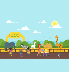 Kids are visiting zoo vector