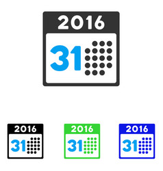 Last 2016 month day flat icon vector