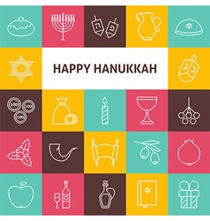 Line Art Happy Hanukkah Jewish Holiday Icons Set vector image