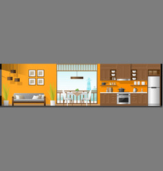 Living room dining room and kitchen background vector