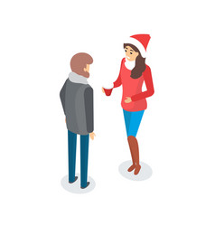 man and woman talking outdoors couple outside vector image