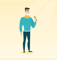 man shaving his face vector image