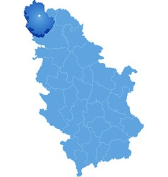 Map of Serbia Subdivision West Backa District vector