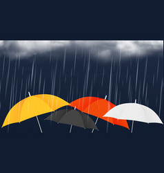 Monsoon sale banner colorful umbrellas and rainy vector