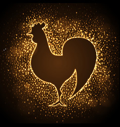 neon sign golden cock on disco background vector image