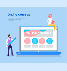 online courses studying with help of laptop pc vector image