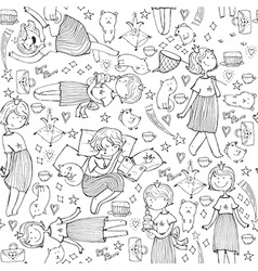 Pattern with cute girl princess cats crown bears vector