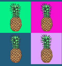 Pineapple pop art style andy warhol style vector