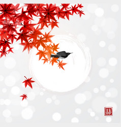 Red japanese maple leaves and shining sun in the vector