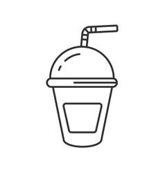 Refreshing soda drink linear icon vector