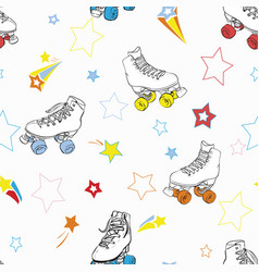 Roller skates with stars in rainbow colors vector