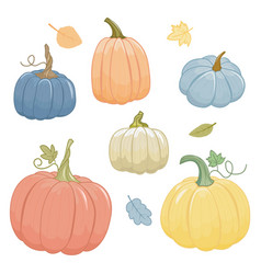 Set autumn pumpkins cartoon style isolated vector