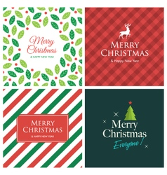 set christmas card square vector image