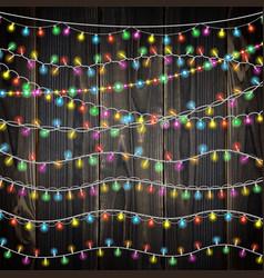Set color garland lights glowing christmas vector