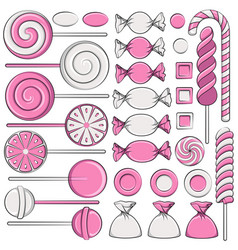 set color with pink sweets vector image