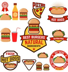 set hot dogs hamburgers tacos labels badges and vector image