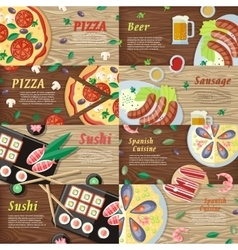 set national dishes flat style banners vector image