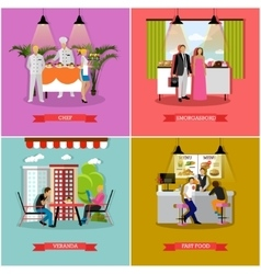 set of banners with restaurant cafe vector image