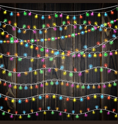 Set of color garland lights glowing christmas vector