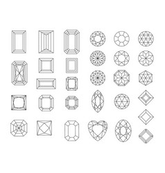 set of diamond design elements - cutting vector image